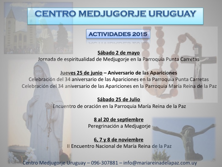 Actividades 2015 - Centro Medjugorje Uruguay